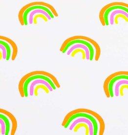 50x150 cm katoen tricot neon regenbogen wit
