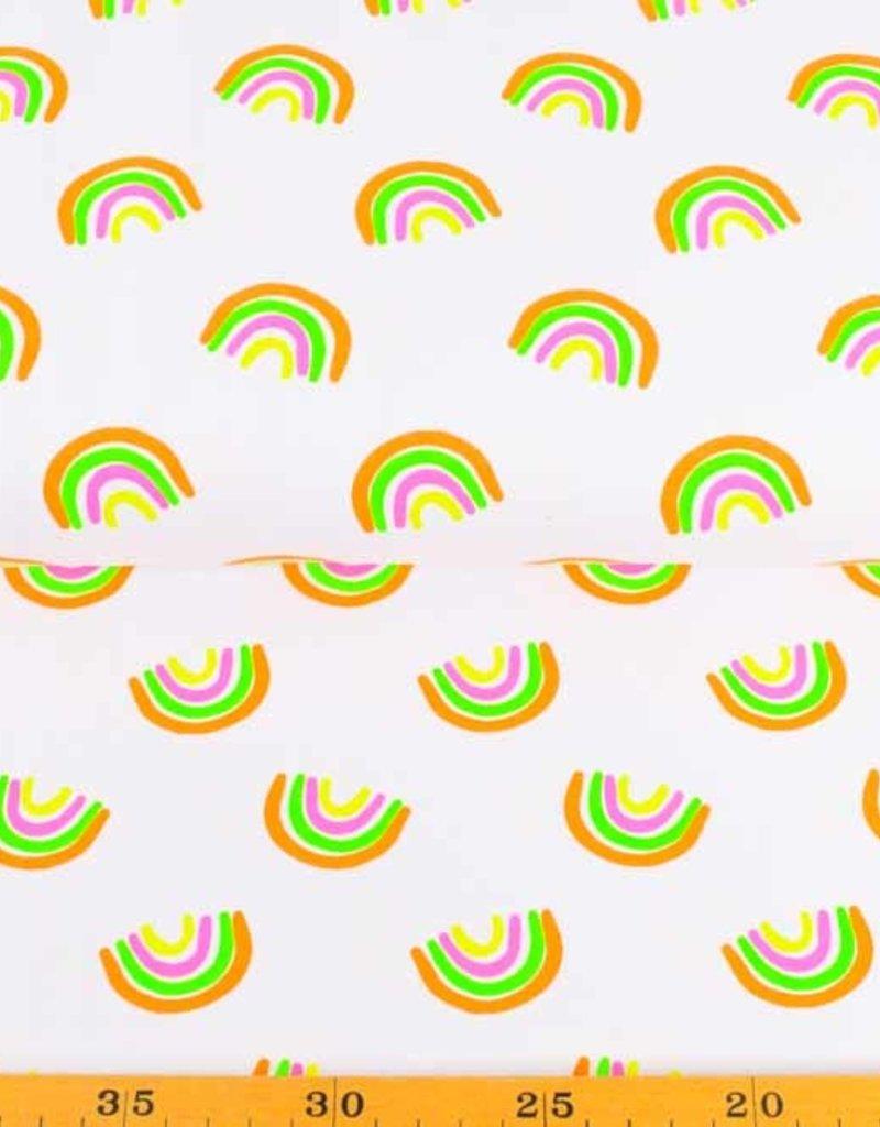 50x150 cm cotton jersey neon rainbows white