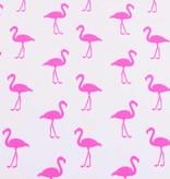 100x150 cm katoen tricot neon flamingo's wit/pink