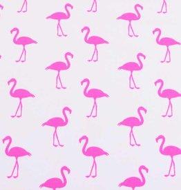 100x150 cm Baumwolljersey Neon Flamingos weiß/pink