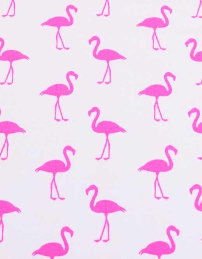 100x150 cm cotton jersey neon flamingos white/pink