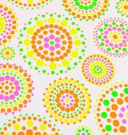 100x150 cm katoen tricot neon stipjes/cirkels wit
