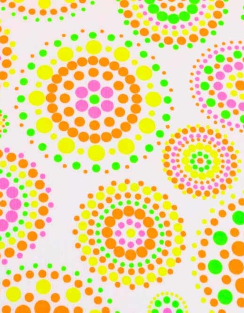 100x150 cm cotton jersey neon dots/circles white
