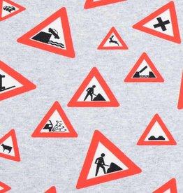 100x150 cm sweat/French Terry digitaaldruk verkeersborden lichtgrijs gemeleerd