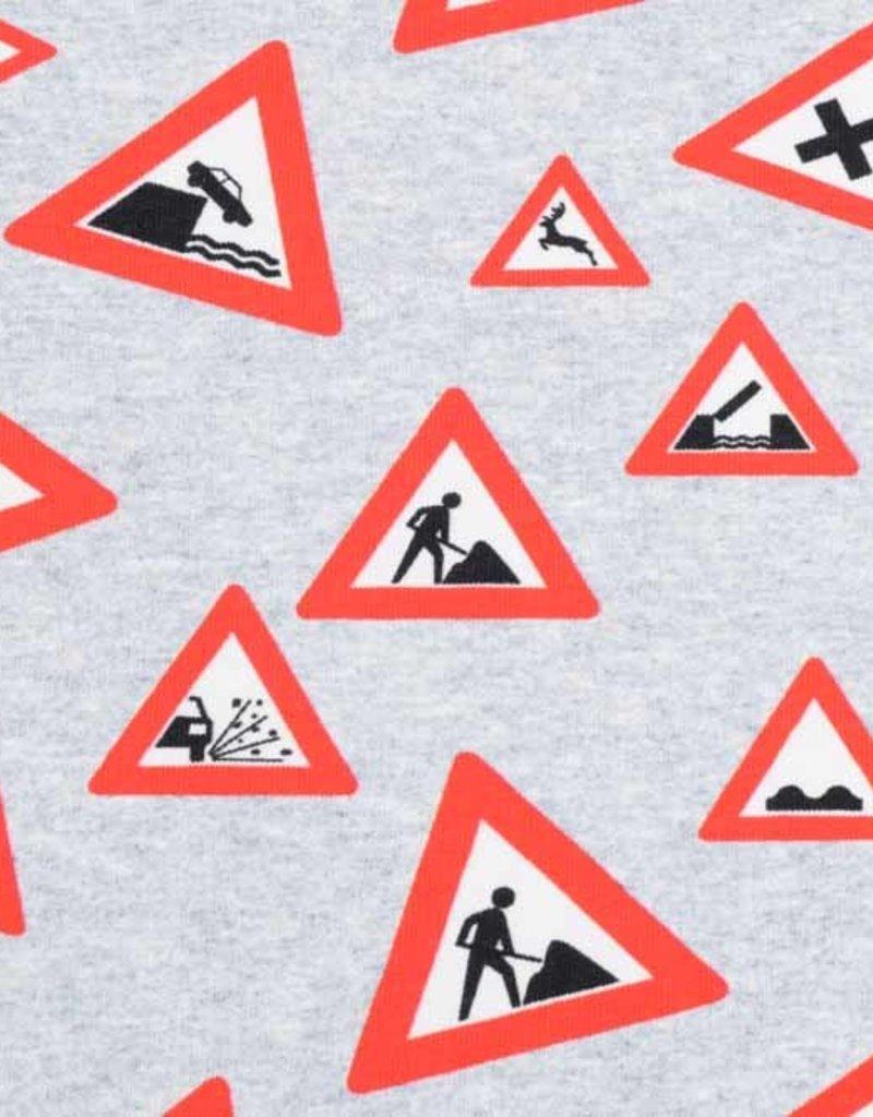 100x150 cm Sweat/French Terry Digitaldruck Verkehrsschilder hellgrau meliert