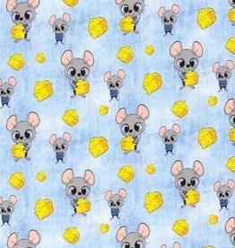 50x150 cm Baumwolljersey Mäuse mit Käse jeans hellblau