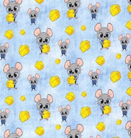 50x150 cm Cotton Jersey Mouse with cheese jeans babyblue