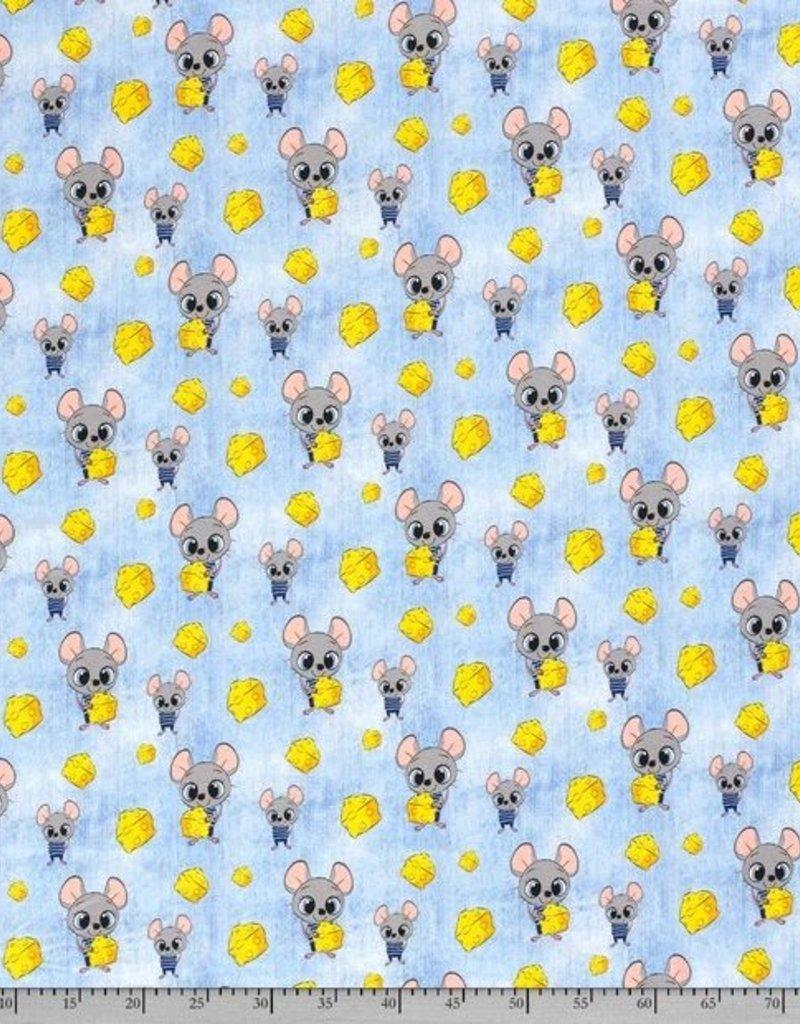 50x150 cm Katoen tricot muis met kaas jeans babyblauw