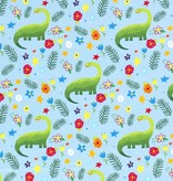 50x150 cm Katoen tricot dinosaurus babyblauw