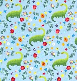 50x150 cm Cotton jersey Dinosaur babyblue
