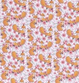 50x150 cm Katoen tricot vosjes roze