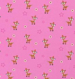 50x150 cm Katoen tricot Hertjes roze