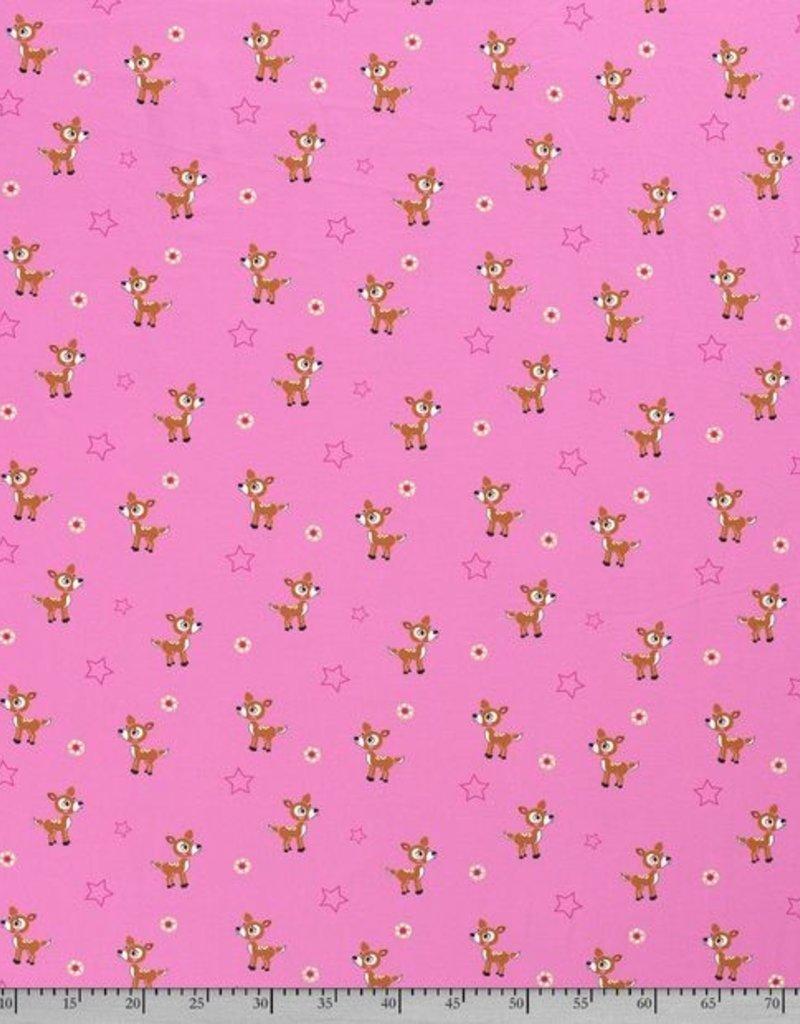 50x150 cm Cotton jersey deer Pink