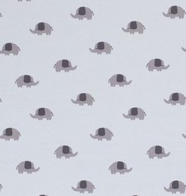 50x150 cm Katoen tricot olifantjes babyblauw