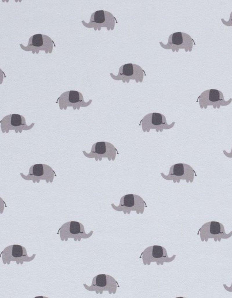 50x150 cm Baumwolljersey Elefanten Babyblau