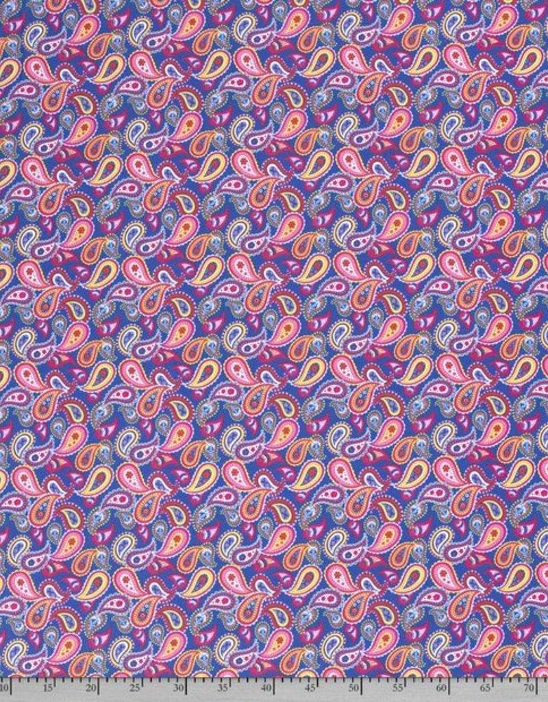 50x150 cm Baumwolljersey paisley Kobalt