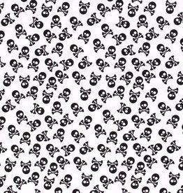 50x150 cm Cotton jersey Skulls white