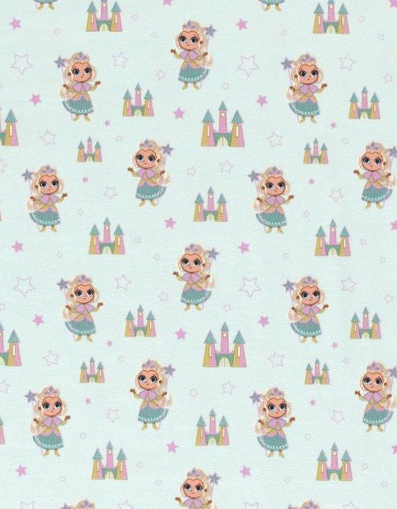 50x150 cm Katoen tricot Prinsessen mint