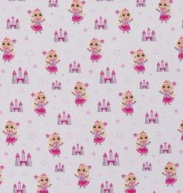 50x150 cm Cotton jersey Prinsesses Hellgrau