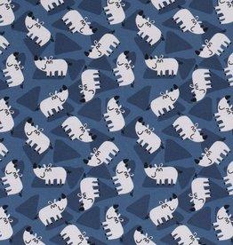 50x150 cm Cotton jersey Rhino's navy