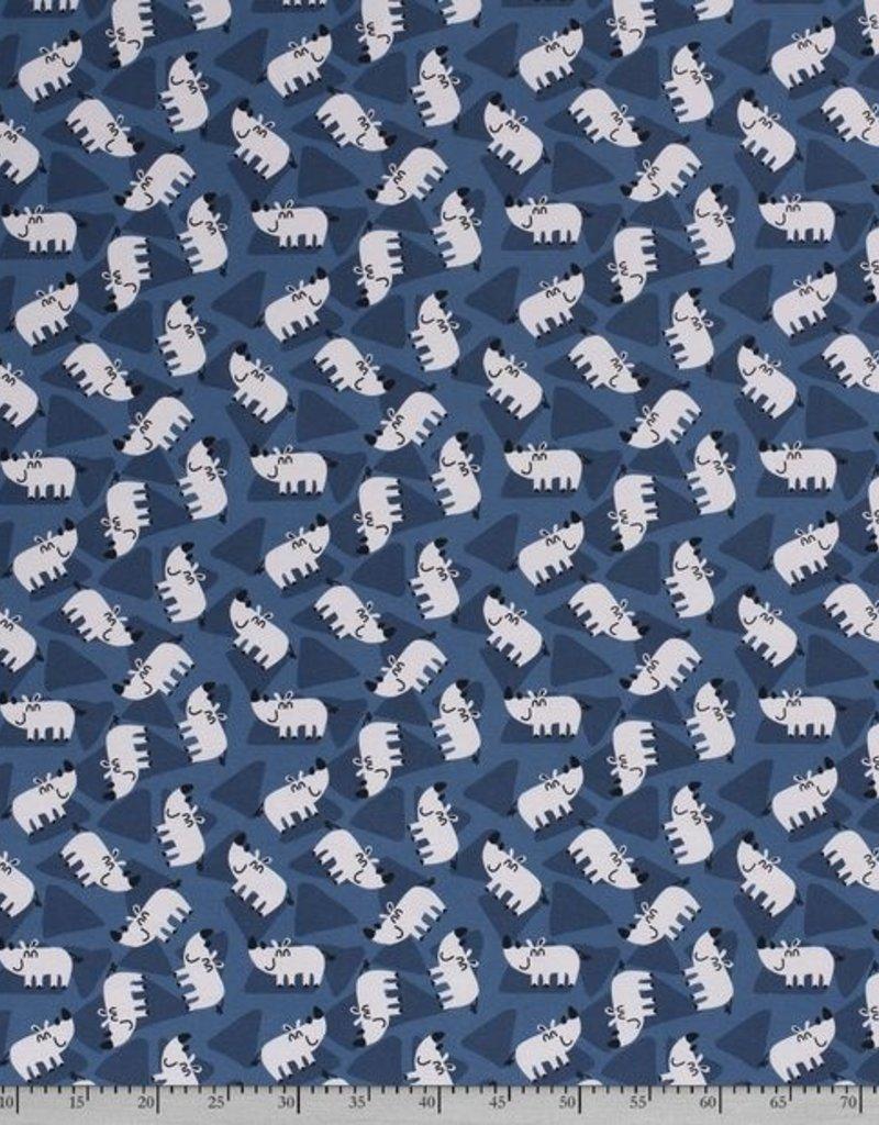 50x150 cm Katoen tricot Neushoorns navy