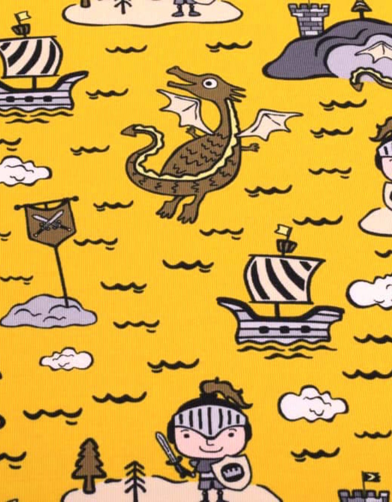 50x150 cm cotton jersey knights and dragons yellow