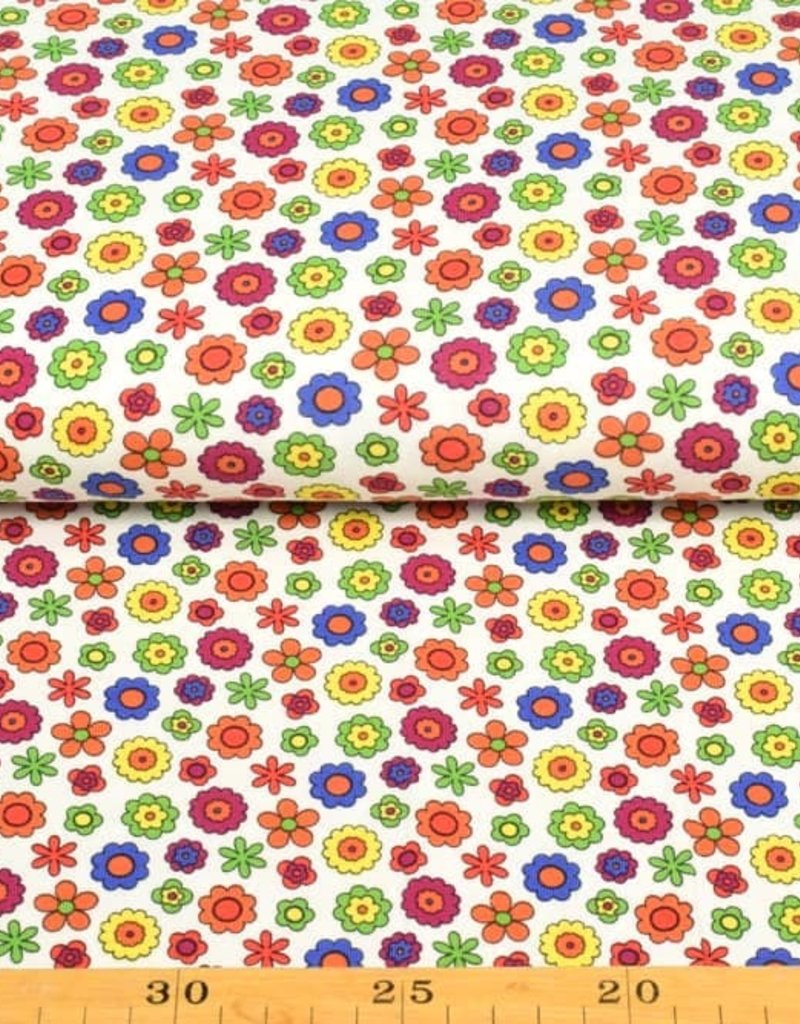 50x150 cm cotton jersey little flowers offwhite