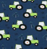 50x150 cm cotton jersey tractors dark blue