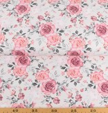 100x150 cm Cotton Jersey Digital printed flowers offwhite
