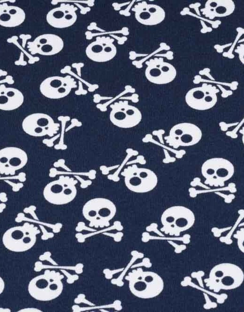 50x150 cm Cotton jersey skulls navy