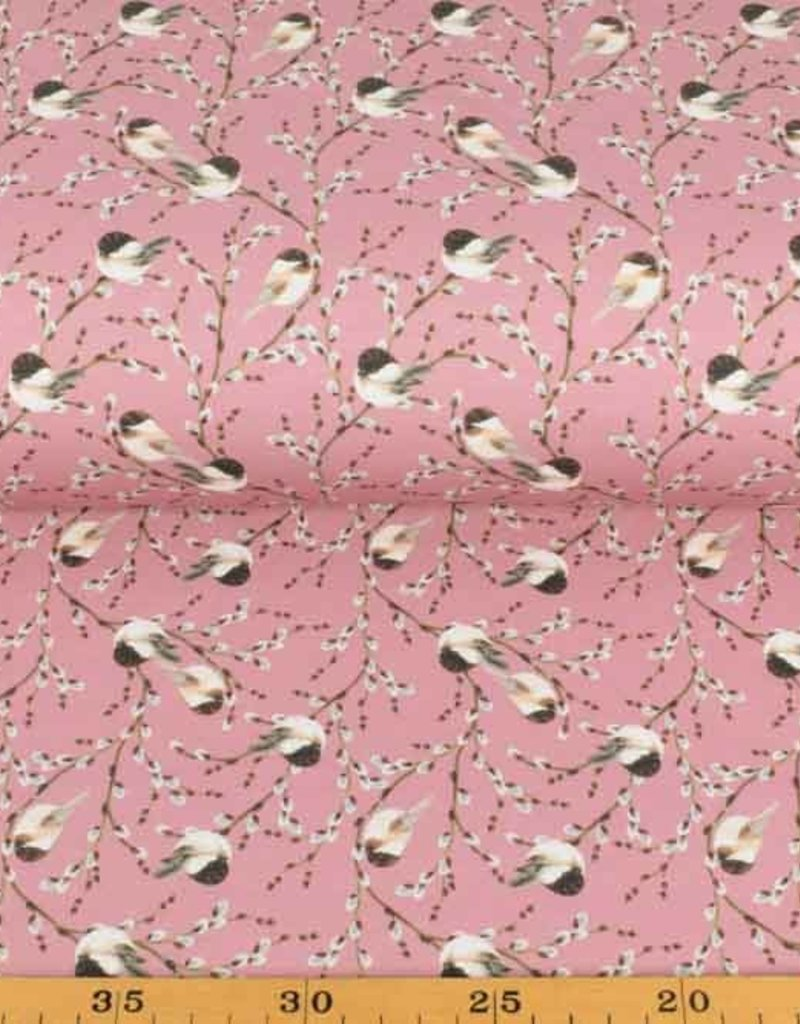 50x150 cm Cotton jersey digital tomtit old pink
