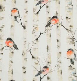 100x150 cm Cotton jersey digital robins with birch old white