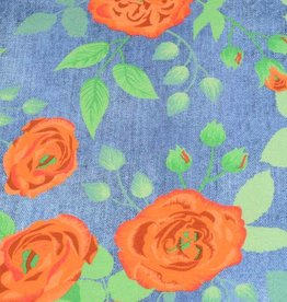 100x150 cm Sweat/french terry Cotton jersey Jeanslook Flowers dark blue