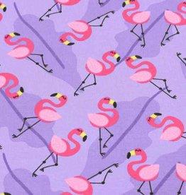 50x150 cm Katoen tricot flamingo's paars