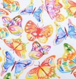 100x150 cm Sweat/French terry digital printed butterflies white