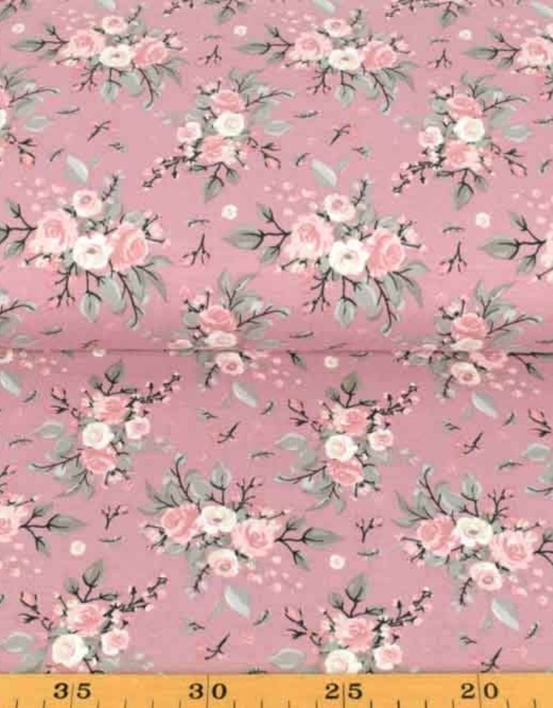 100x150 cm Cotton jersey roses old pink
