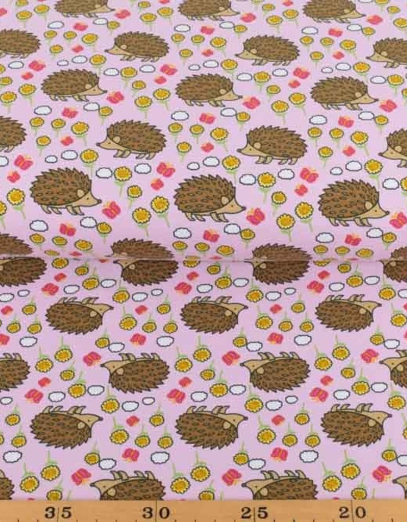 100x150 cm Cotton jersey hedgehogs pink