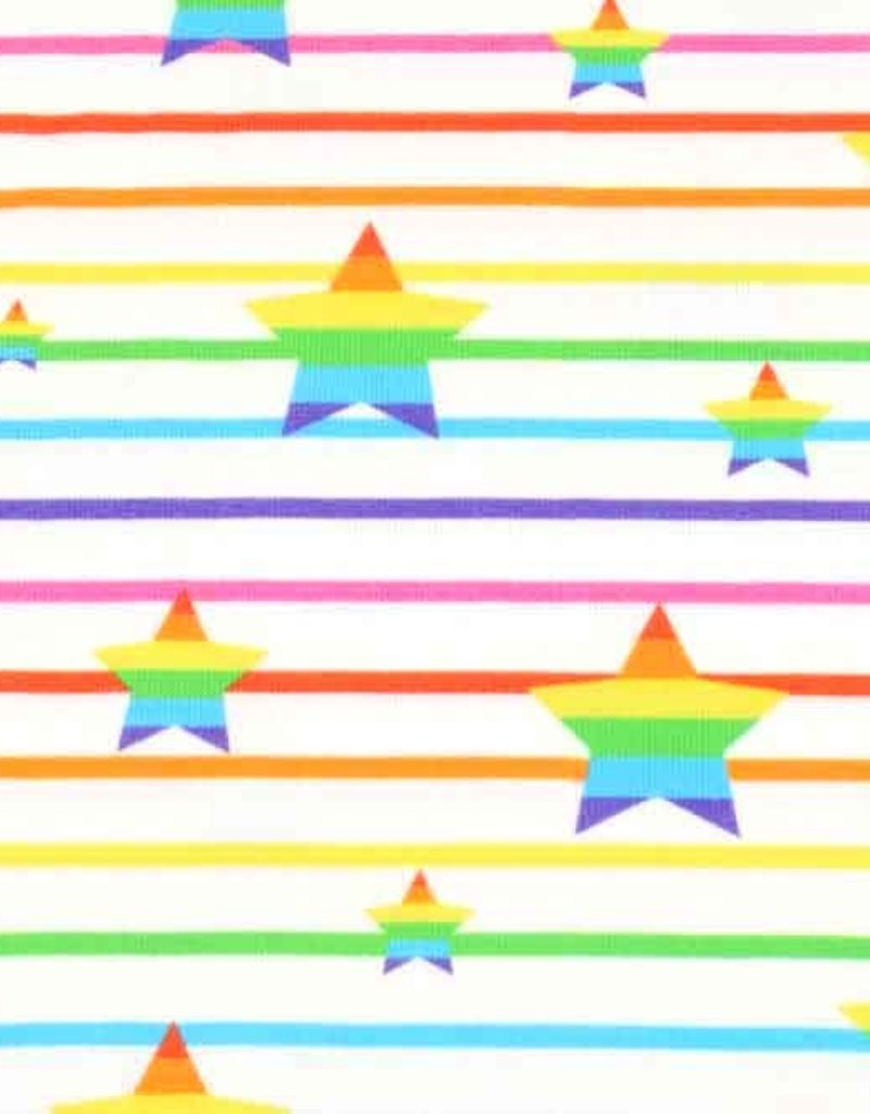 100x150 cm Cotton jersey rainbow star white
