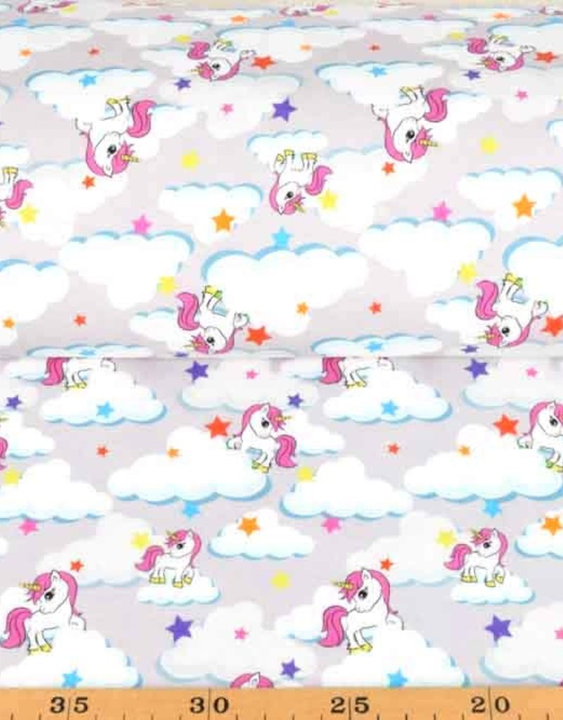 100x150 cm Cotton jersey unicorns light gray