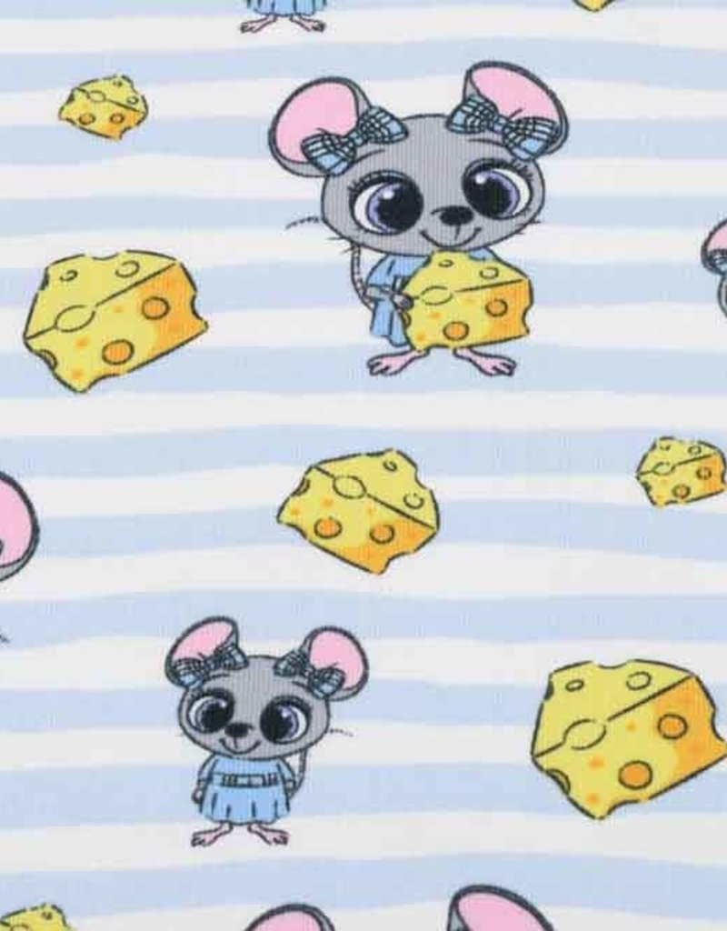 100x150 cm Sweat/French Terry mice Baby blue
