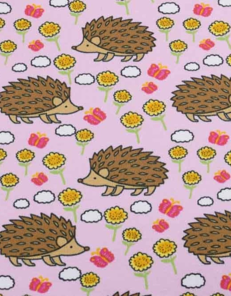 50x150 cm Cotton jersey hedgehogs pink