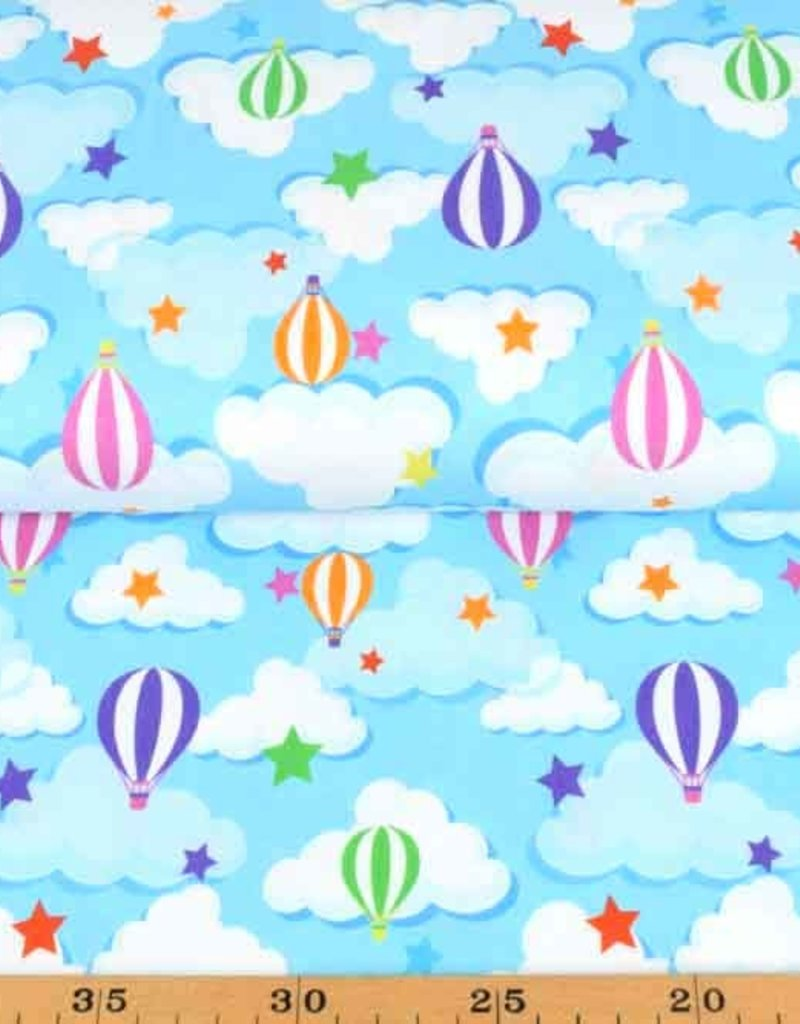 100x150 cm Cotton jersey balloons Baby blue