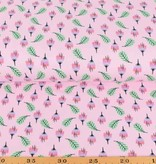 100x150 cm Cotton jersey flowers pink