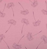 100x150 cm cotton jersey dyed, dandelions old pink