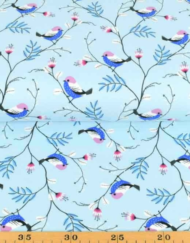 50x150 cm cotton jersey birds light blue
