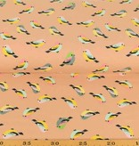 50x150 cm cotton jersey birds salmon