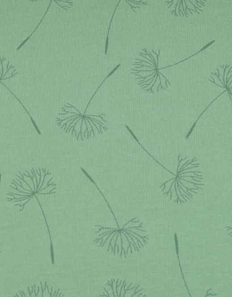 50x150 cm cotton jersey dyed, dandelions old green