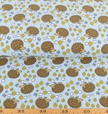 100x150 cm cotton jersey hedgehogs light blue