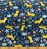 100x150 cm cotton jersey leopard navy
