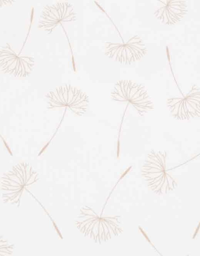 100x150 cm cotton jersey dyed, dandelions offwhite
